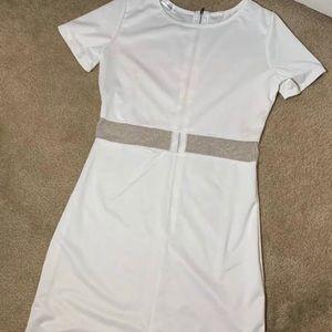 White mesh stomach bodycon dress!!